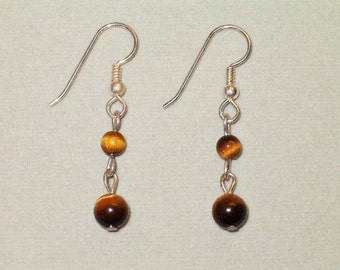 Sterling Silver/Genuine Tigereye Small Double-Ball Dangle Earrings