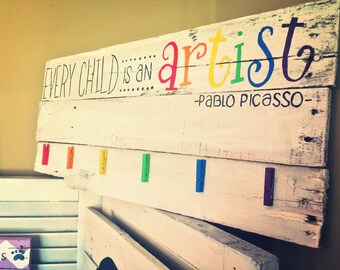 Pablo Picasso Pallet Sign for hanging childs artwork