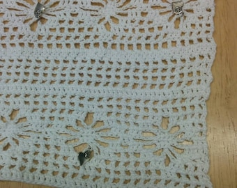 One of a kind irish crochet scarf in white