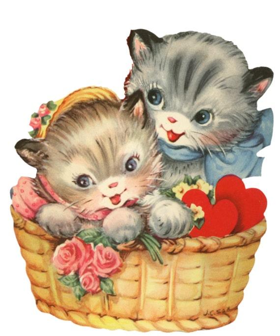 Cat Basket Clipart : Sale vintage dog cat images digital cd disk by