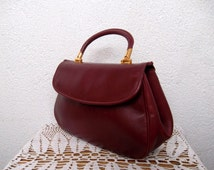 70s Maroon Satchel, Genuine Leather Bag with Detachable Strap by Creation Picard, Small Handbag, Kelly Style Purse, Mini Shoulder Bag