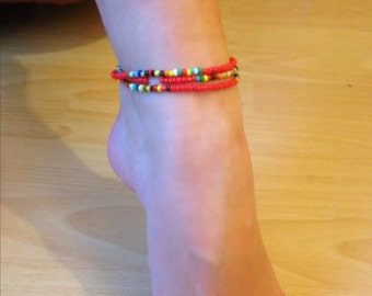 Beaded wrap anklet