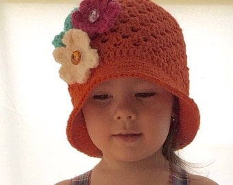 Summer Hat With 3 Flower - Soft Brimmed Cotton Crochet Hat with Flower- Babies, Toddlers, Kids - Choose Size and Color