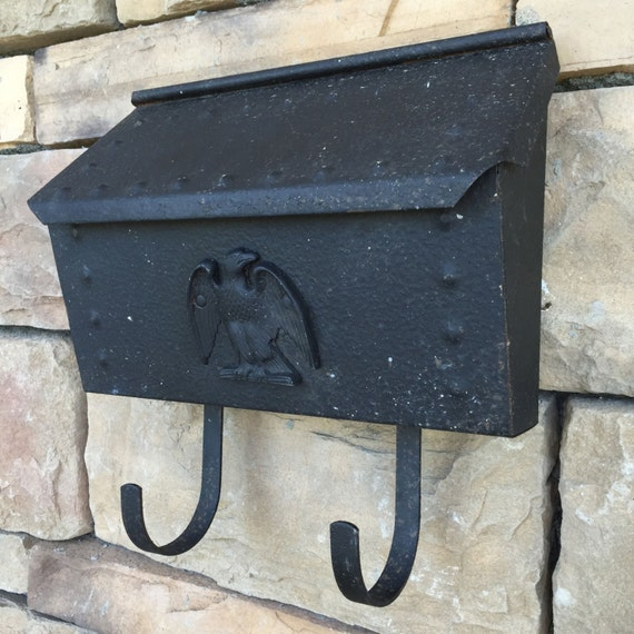 Wall Decor Mailbox : Vintage cottage mailbox s black rustic hammered metal