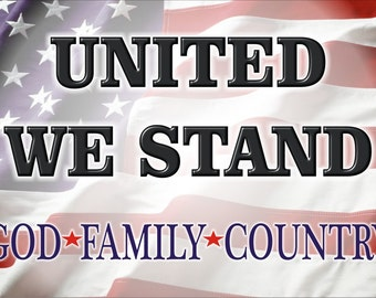 American flag United We Stand sign God Family Country Patriotic wall decor personalized aluminum sign custom made