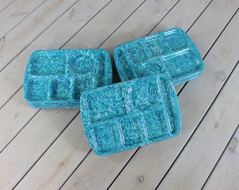 Vintage Set of 6 Prolon Ware Cafeteria School Lunch Trays TV Mid Century Dinner Lap 70's Retro Serving Confetti Marble Melmac Turquoise Blue