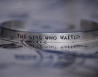 The Girl Who Waited - Amy Pond - Doctor Who Inspired Aluminum Bracelet Cuff - Hand Stamped