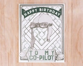 To My Co Pilot Birthday Screen Printed Greeting Card