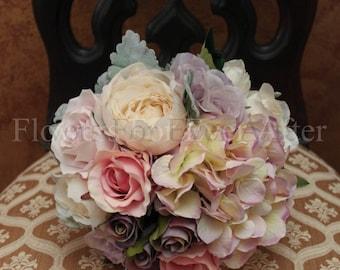 Hillary, Silk Bridesmaid, Pastel Silk Hydrangea Posy Bouquet