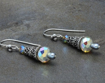 12 - Sterling Silver, Swarovski Crystals, Pearls, Sand Opal, Beige, Neutral, Taupe, Dangle Earrings