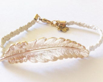 Feather Charm Braided Rope Bracelet