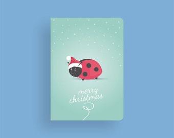 Christmas Card - Magical Christmas by Celebratink • Ladybug • Santa • Greeting Cards • Holiday Cards • Blue, White & Green