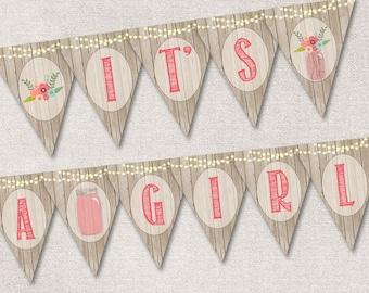 Printable Banner, Girl Baby Shower Banner Printable, Rustic Mason Jar It's a girl Baby Shower Banner, Printable it's a girl Banner, Digital