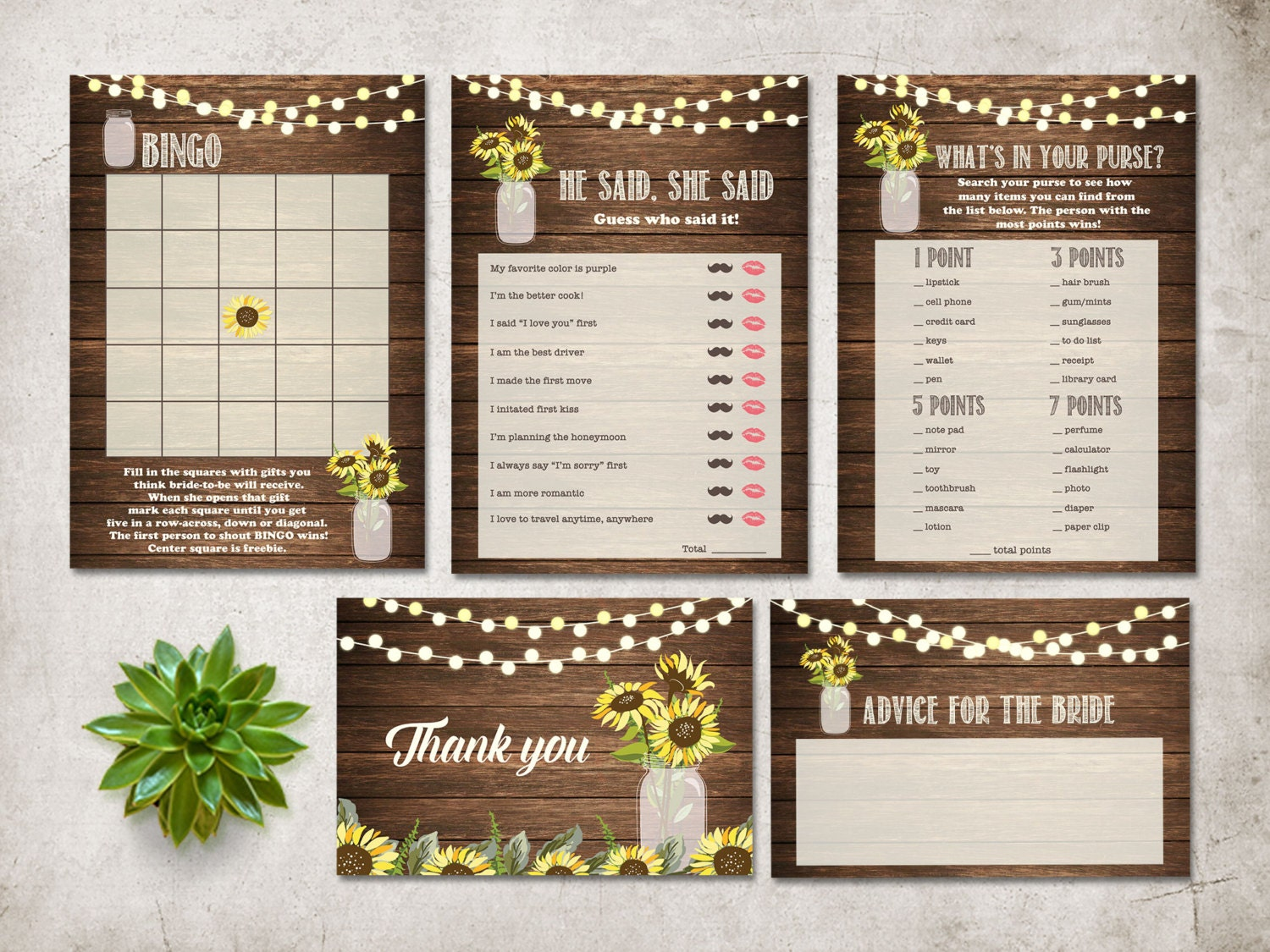 Rustic Bridal Shower Games