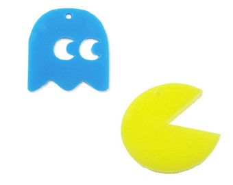 2 pcs Pacman and ghost laser cut charms set