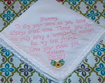 Personalized Embroidered wedding handkerchief,  mother of the bride, mother of the groom wedding hankies
