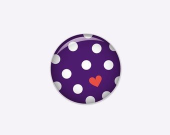 Dotted button in violet with white dots