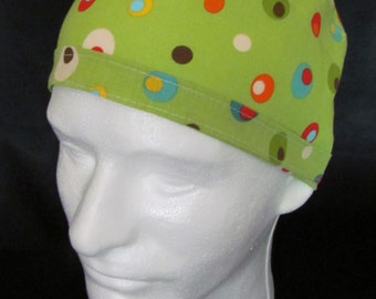 Martini Polka Dot Green Olives and Colors Tie Back Surgical Scrub Hat