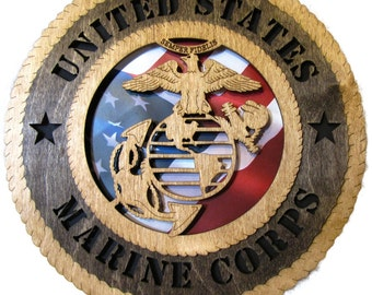 Marine Corps Laser Cut Military Wall Plaque with American Flag - May be Personalized