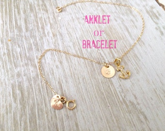 personalized initial anklet 14k gold filled monogram anklet letter anklet custom initials hand stamped heart cz anchor body jewelry monogram