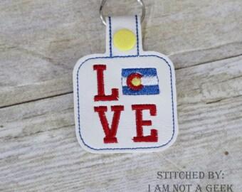 Colorado LOVE  - In The Hoop - Snap/Rivet Key Fob - DIGITAL Embroidery Design