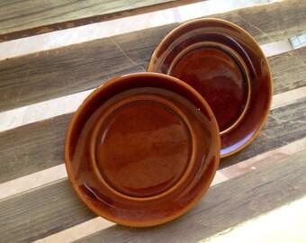 Brown Glazed Plates, Brown Glazed Dishes, Brown Plate, Brown Plate, Clay Dish, Clay Plate, Glazed Salad Plates, Glazed Pottery, Set of 2