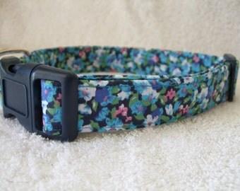 Navy Blue Liberty Print  Dog Collar