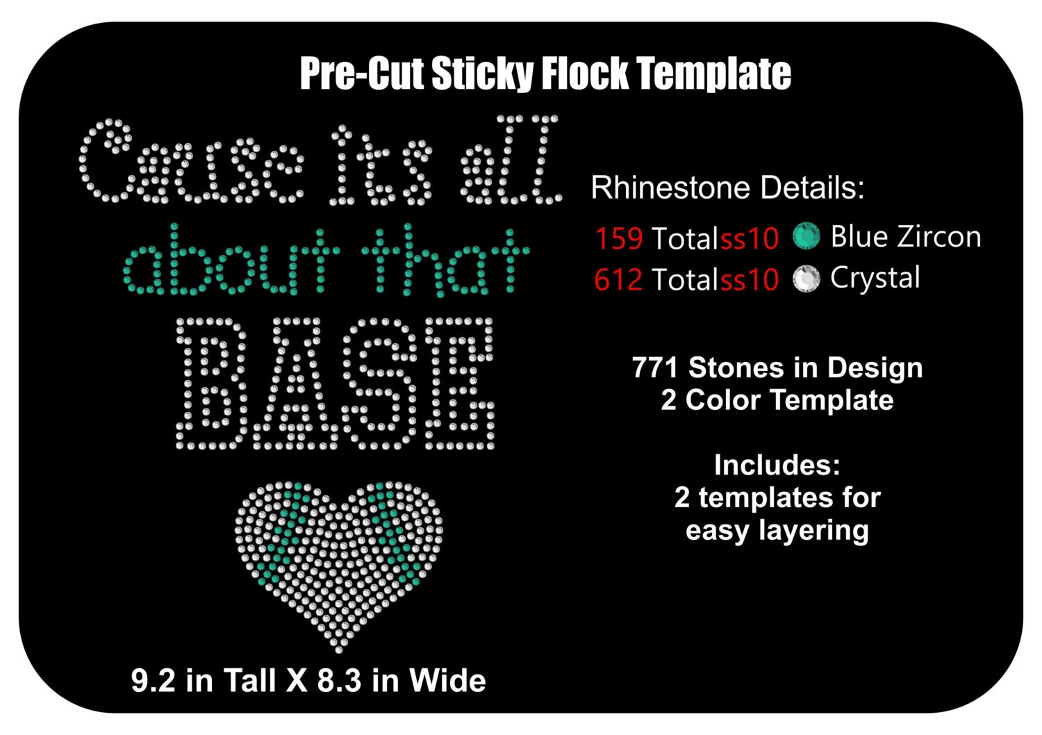 pre cut sticky flock templates - pre cut rhinestone flock template baseball all about that