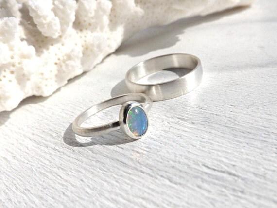 opal wedding ring set delicate opal ring set opal by CrazyAssJD