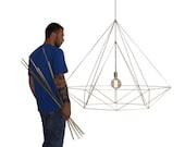 XXL Himmeli Light Diamond Cage pendant Geometric Gold matte Chandelier  Industrial Brass Gold Original Himmeli Art Panselinos