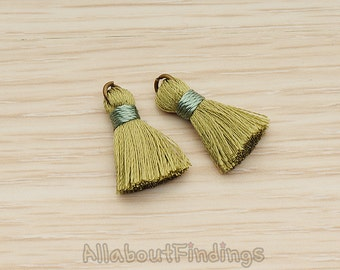PDT1261-OL // Olive Silk Antique Brass Oring and Silk Band Tassel Pendant, 2 Pc
