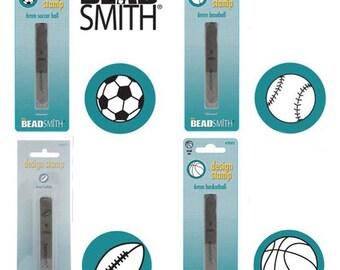 Sports Metal Stamp Mix: Soccer Ball, Football, Baseball, Basketball Metal Stamps, 6 mm (4 pcs)