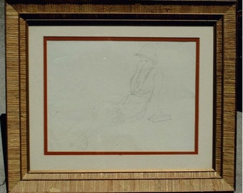 G Plante Drawing Woman, Old Art Pencil Hilton Head Listed American Artist, Rare