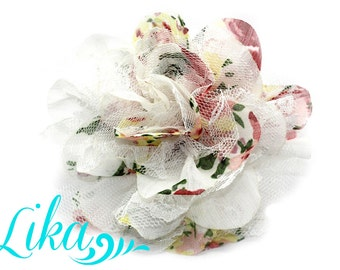 Vintage Floral - Chiffon Flower - Lace rose - Shredded Lace Flower - Wholesale - Supply - DIY- 3.75 inch