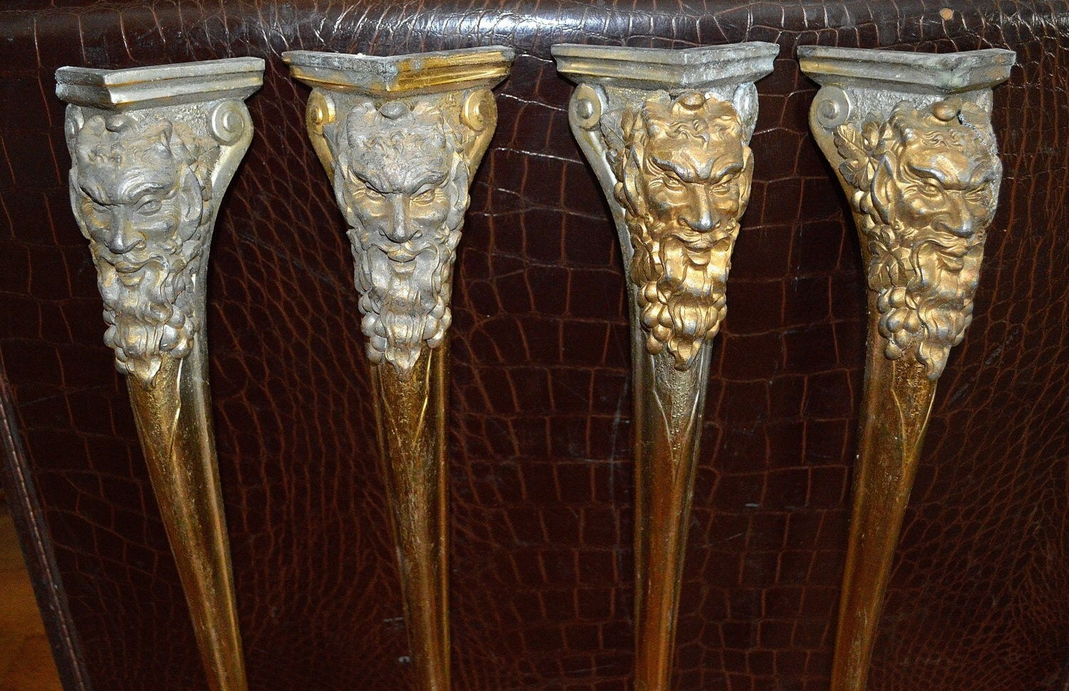 Antique Set of 4 French Table Legs Brass Plated Ornate Bacchus