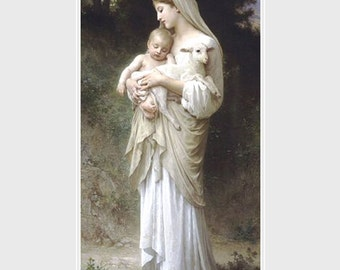 "William Adolphe Bouguereau,  L'innocence.  Featuring a Shepherdess with lamb 11x14"" canvas art print"