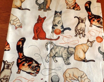 half yard, CAT themed poly cotton fabric.  New/old stock