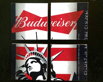 Budweiser Beer Magnets From Recycled 12 Packs - Patriotic Statue of Liberty Beer Fridge Magnets