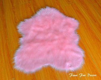 Baby Pink Sheepskin Area Rug Nursery Home Living Decor Nonslip Backing Faux  Fur Throw Rugs