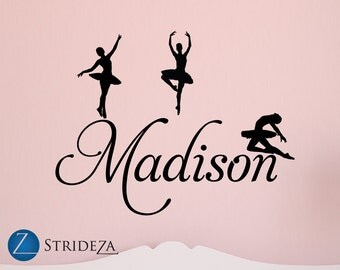Ballerina decor, ballerina decorations, ballerina decal, ballerina wall decal, girls room decor, girls room decals, D00105.