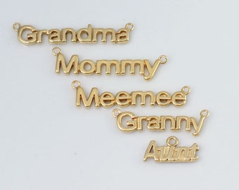5 Pcs-Gold Plated Family Member Link Connectors (Grandma, Mommy, Meemee, Granny, and Aunt), Bulk Silver Charms,CM31LC