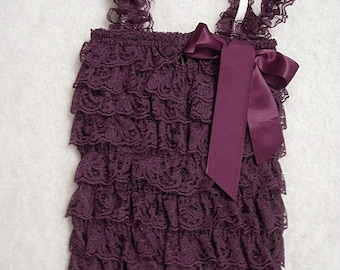 Baby Toddler Ruffle Petti Romper With Straps Eggplant Purple SMALL