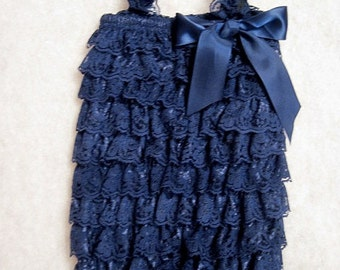 Baby Toddler Ruffle Petti Romper With Straps Navy Blue SMALL