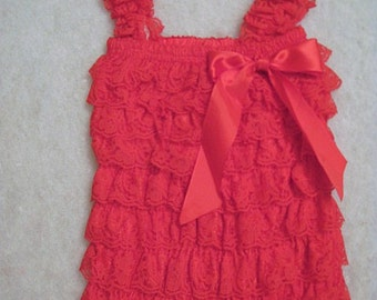 Baby Toddler Ruffle Petti Romper With Straps RED Size SMALL