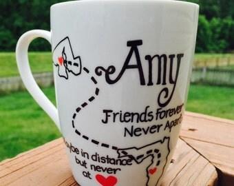 Best Friends Long Distance-Best Friend Gift Ideas- Friend Mug-Mugs for friends in different states-States apart mug for BFFs- BFF mug