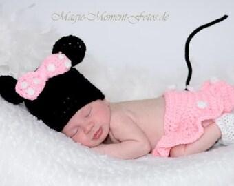 crochet Photo Prop - Minnie Mouse - Newborn