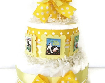 Little Golden Book Diaper Cake in Yellow and White, Neutral Gender Baby Shower Centerpiece