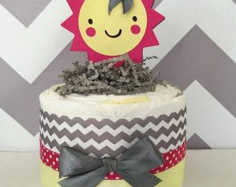 Sunshine Baby Shower Mini Diaper Cake in Pink, Yellow and Grey/Ray of Sunshine/Mini Diaper Cakes