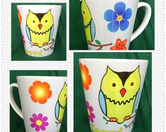 Coffee Mug/Personalized Mug/12oz. Latte' Mug/Ceramic Owl Mug/Owl Mug/Unique Owl Mug/Gift for Her/Gift for Him/Funny Mug/Cute Mug