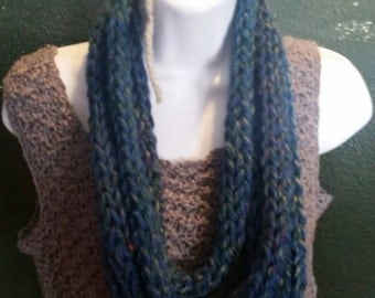 Finger knit infinity scarf (lake Tahoe blue), handcrafted knit scarf, infinity loop